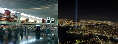 閑散とした空港とNYの夜景